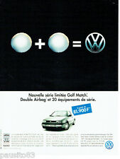 PUBLICITE ADVERTISING 026  1997  Volkswagen Golf Match double airbag