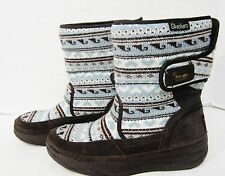 Skechers Tone Ups 38716 Brown Suede Blue Sweater Knit Chalet Carve Boots Size 10
