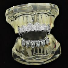 CZ Fangs Grillz Set Silver Tone Vampire High Quality Micro Pave Fang Bling Teeth
