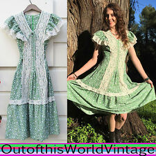 Vtg 70s Green Prairie Peasant COTTON FLORAL LACE Dress Gunne Sax Inspired Sz S