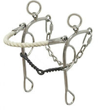 """Combination Western hackamore/gag bit rope nose, twisted 5"""" mouth Showman 14118"""