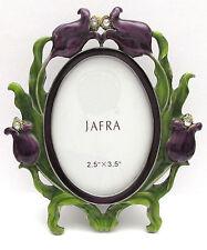 "JAFRA Enameled Purple Flower & Crystal 2.5"" x 3.5"" Photo Frame - Nwob"