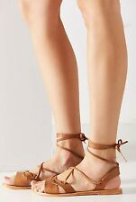 NEW Urban Outfitters Urge tan Leather Ankle Tie Sandals 39 / 8 - 8.5