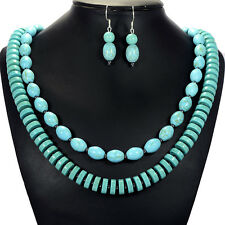 Vintage Turquoise Necklace & Sterling Silver Earrings Set Handcrafted Jewellery
