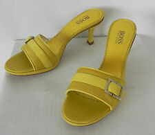 Boss . Hugo Boss Slip-on Heels Lime Green/Yellow Leather Made in Italy Size 6