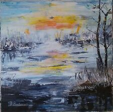 paesaggio su tela 40x40 dipinto a mano Original italy oil painting