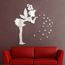 Angel Magic Fairy & Stars 3D Mirror Wall Sticker Kids Bedroom Decoration Gift