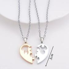 Stainless Steel Couple Lovers Choker Love Heart Diamond Pendant Chain Necklace