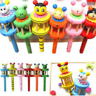 Cartoon Animal Wooden Handbell Jingle Rattle Toy Musical Instrument For Baby Kid