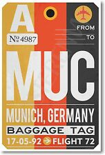 MUC - Munich, Germany - Airport Tag - NEW Travel POSTER (tr503)