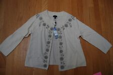 NWT Ivory Lambswool Blend TALBOTS Beaded Sweater Petite Small - Medium
