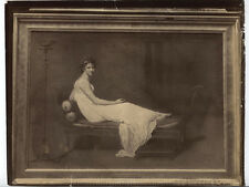 UNMOUNTED ALBUMEN OF PAINTING OF RECLINING WOMAN BY JACQUES-LOUIS DAVID.