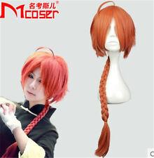 GINTAMA Kamui Orange Red braid Long Cosplay Full Wig Hair+Wig cap+Free shipping