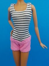 2016 BARBIE CLOTHES SISTERS DOLL OUTFIT STRIPED KNIT & TERRY CLOTH SHORTS ROMPER