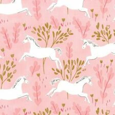 Metallic Unicorn Forest Blossom Michael Miller Fabric FQ or More 100%Cotton