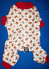 New Size XS Gingerbread Men Pattern Dog Pajamas Sleepwear Dog Clothes Pet