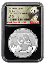 2017 China 10Y 30g Silver Panda NGC MS70 FDI First 30k Struck Lbl Blk SKU45028