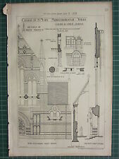 1877 DATED ARCHITECTURAL PRINT ~ ST MARY MIDDLESBOROUGH YORKS WEST FRONT DETAILS