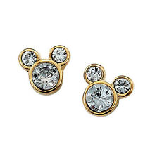 Avon Disney Mickey Mouse Stud Earrings Gold Rhinestones Kids Girls Women NEW