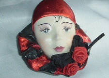 VINTAGE L. HOFFMAN BLACK RED CERAMIC LADY DOLL HEAD FACE BROOCH PIN IN GIFT BOX
