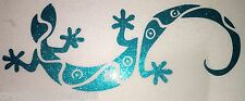Custom Tribal Lizard Gecko 2 Silver Glitter Holographic Decals 16-01