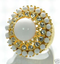 Kenneth Jay Lane White Cabochon Cocktail Ring Sz.- 7