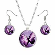 Butterfly Glow In The Dark Time Gem Necklace Pendant Earrings Women Jewelry Set