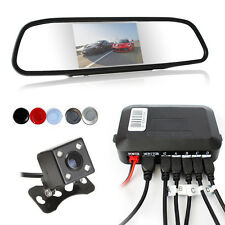 Car Rear View Mirror Monitor + Wireless Parking Sensor Reverse Camera Kit