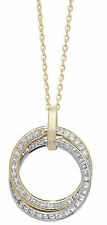 9ct Yellow Gold Necklace with Yellow and White Gold Double Ring CZ Pendant