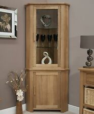 Eton solid oak living room furniture corner display cabinet unit with light