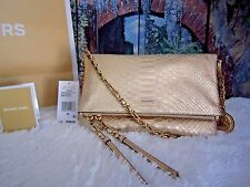 NWT MICHAEL KORS CORINNE Medium Metallic Messenger/Crossbody Python Embossed bag