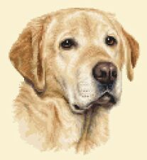 YELLOW LABRADOR RETRIEVER dog, puppy, complete counted cross stitch kit
