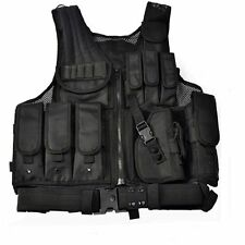 Tactical Vest Black for SWAT Police Military Molle Assault Hunting Belt Holster