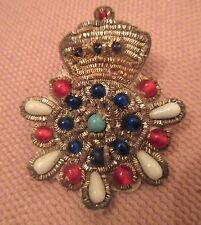 antique ornate handmade metal glass boating yacht club jacket nautical patch pin