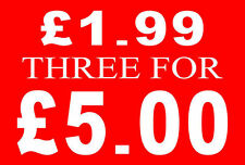 £1.99 Three For £5 Pound Sale Rail Sign Card Retail Shop Display-High Quality
