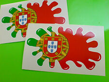 PORTUGAL / PORTUGUESE Flag Splat Van Car Motorcycle Stickers Decals 2 off 100mm