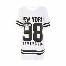 Ladies New York 98 Baseball Varsity Top Womens Oversized Baggy T-shirt UK 8-14
