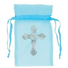 Blue Cross Organza Favour Bags 9cm  Religious Christening Communion