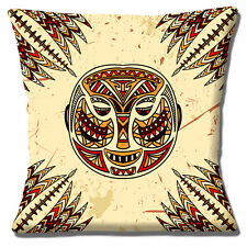 "NEW AFRICAN TRIBAL MASK CREAM RED SHADES BEIGE BLACK 16"" Pillow Cushion Cover"
