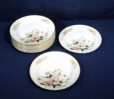 """Grace China ROCHELLE Pink Flower Floral 9 Salad Plates 7-5/8"""""""