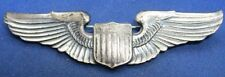 WWII Sterling Army Air Forces Pilot Officer Full Size 3 Inch Wings Badge PB