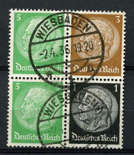 Germany Third Reich 1933, 5pf, 3pf, 1p Hindenburg Used Block #A65886