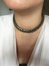 Antique Victorian Sterling Silver Ball Collar Necklace Choker
