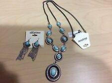 NEW NWT Carol Dauplaise Necklace Earring Set Jewelry Turquoise Silver Long Boho