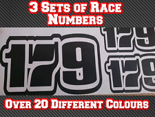 "3 Sets 4"" Race Number Vinyl Stickers Decals MX MotocrossTrack Bike Kart D6 100mm"