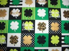 St Patricks Day Shamrock Squares Green Black White Gold Cotton Quilt Fabric BTY