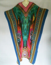 Long Sheer Embellished Kaftan  Tunic Digital Printed Size 16-18-20-22
