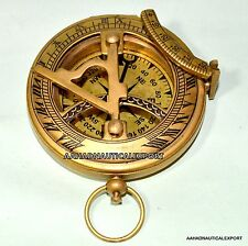 Antique Push Button Brass Antique Nautical Sundial Compass sundial compass Gift