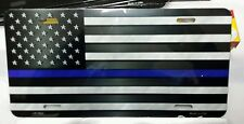 THIN BLUE LINE AMERICAN FLAG METAL NOVELTY LICENSE PLATE TAG