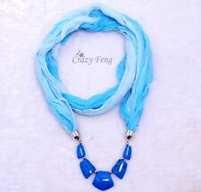 Women Lady Cotton Long Scarf Jewelry Necklace Beads Pendant Scarves Shawl Wraps